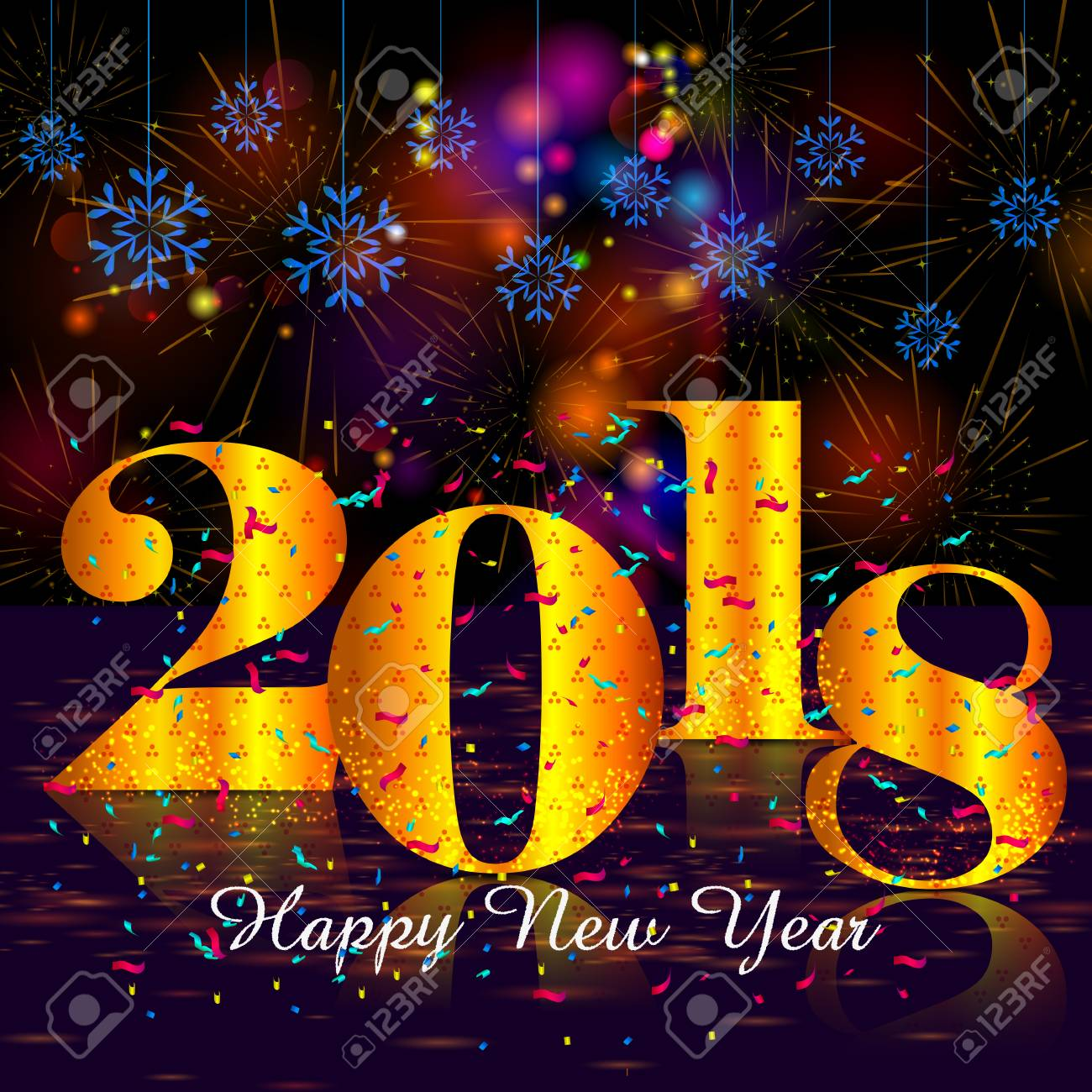 happy new year 2018 wishes greeting card template background design in vector stock vector 90306540