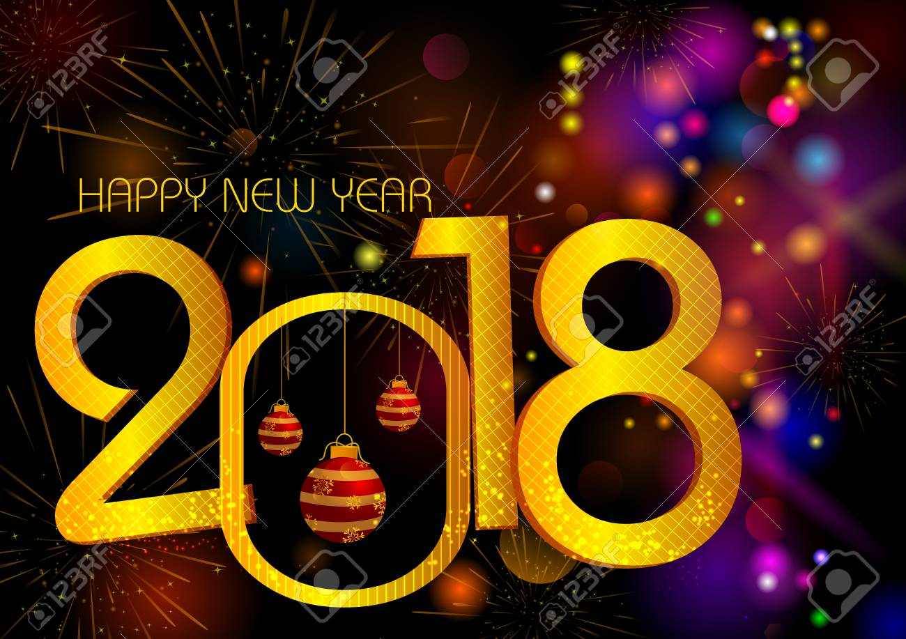 happy new year 2018 wishes greeting card template background design stock photo 90877271
