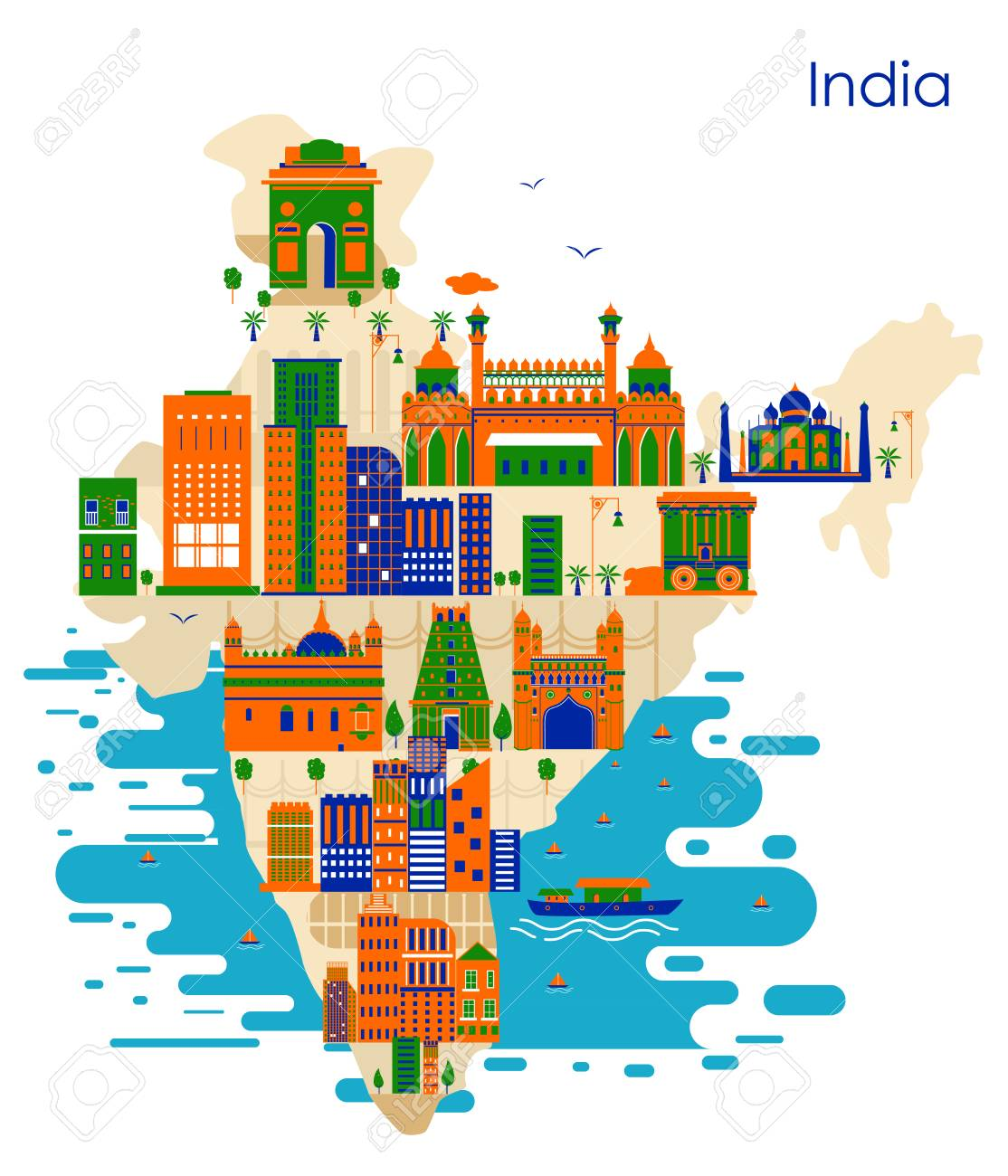 Map Of Country India With Building And Famous Monument In Vector ...