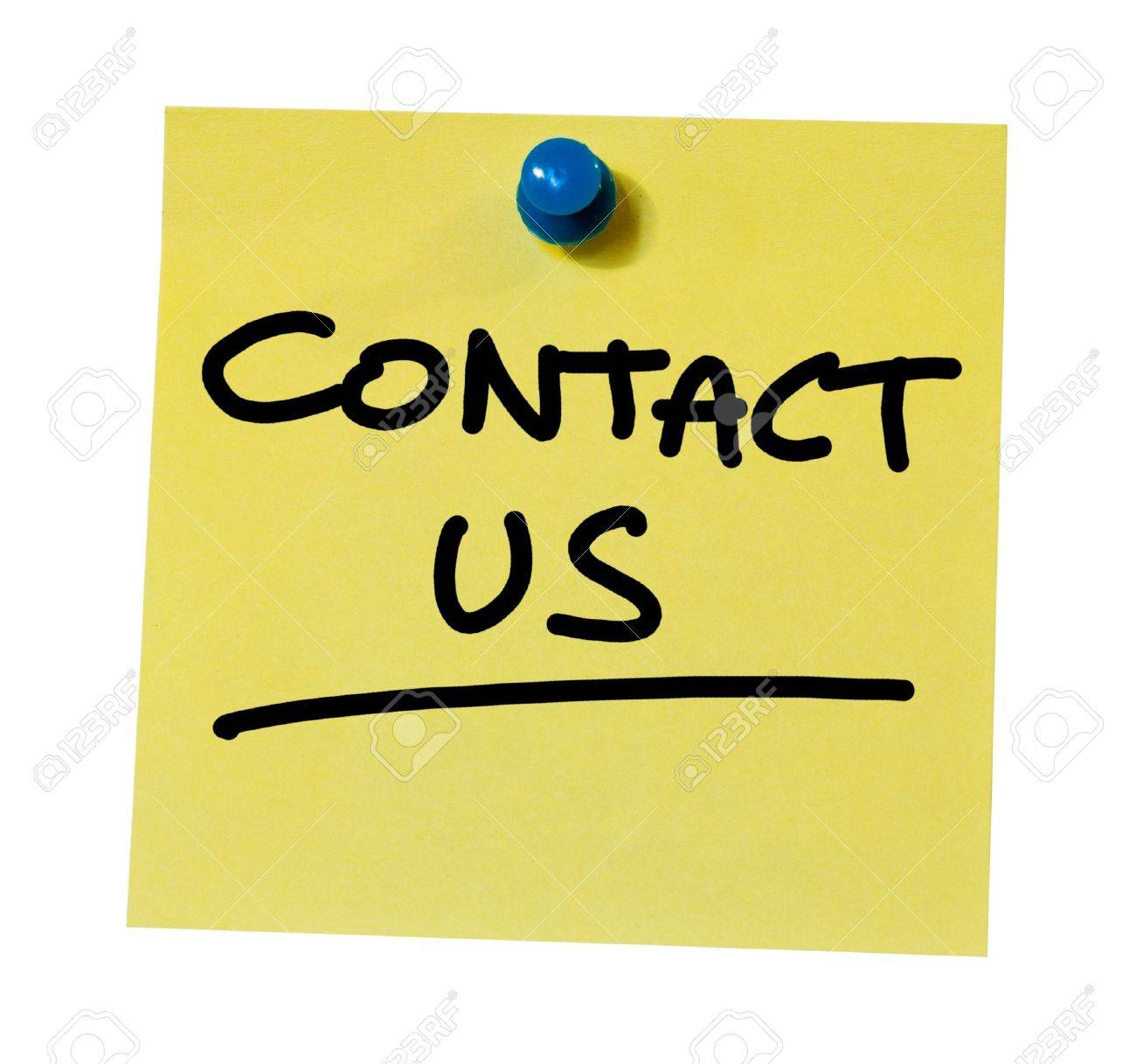 Contact us written on a sticky note Stock Photo - 14168971