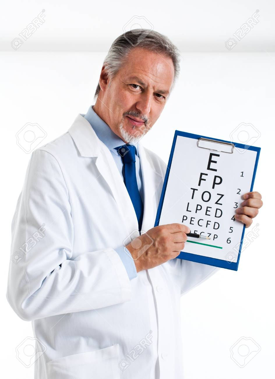 Doctor doing an optical test Stock Photo - 14329978