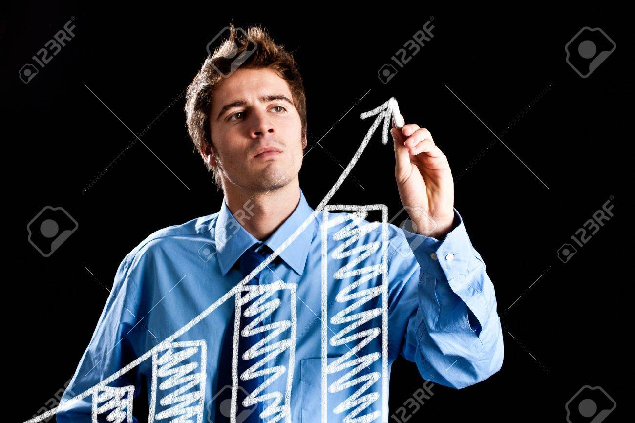 Man drawing a chart on the screen Stock Photo - 14374847