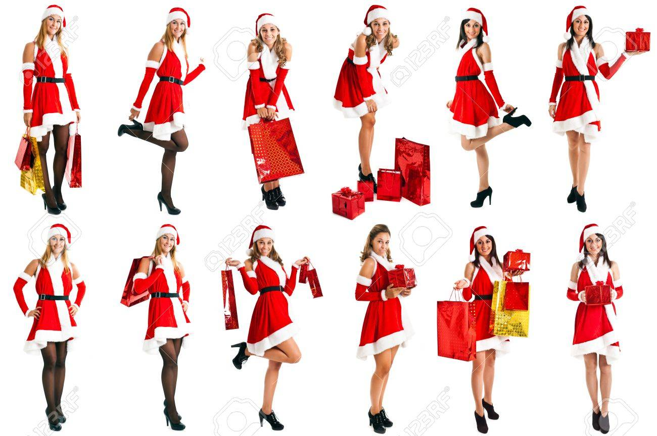 Full length portraits of a beautiful blonde girl wearing a Christmas dress Stock Photo - 14598692