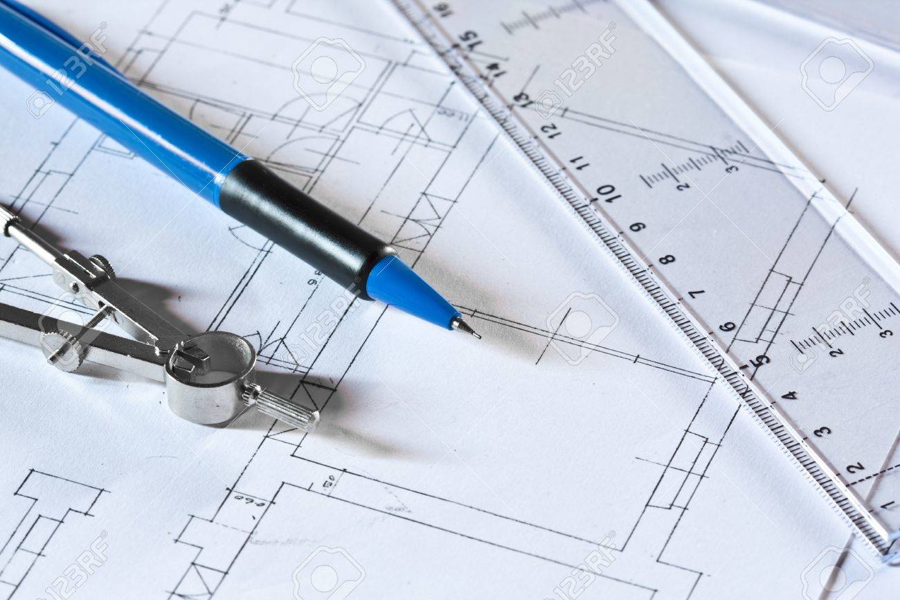 drafting tools on a construction plan stock photo picture and