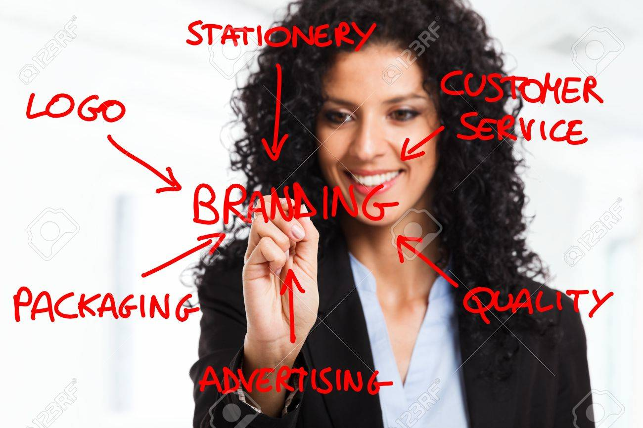 Businesswoman drawing a branding flow chart Stock Photo - 14748728