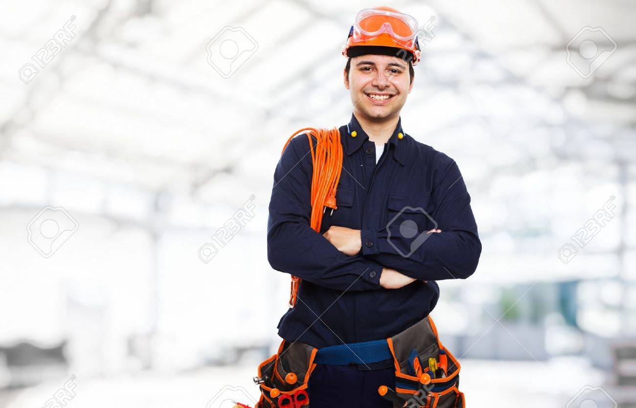 portrait of an happy worker stock photo picture and royalty free