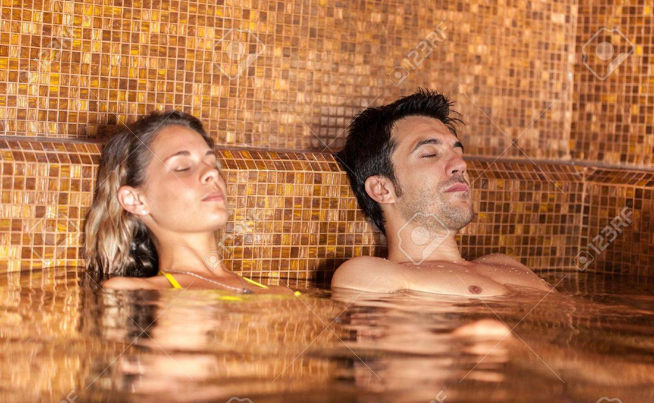 Young couple relaxing in a spa Stock Photo - 15271819