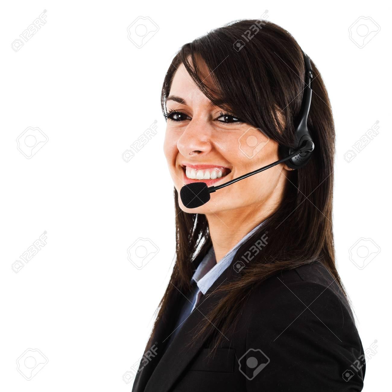 Portrait of a beautiful customer representative isolated on white Stock Photo - 15444964
