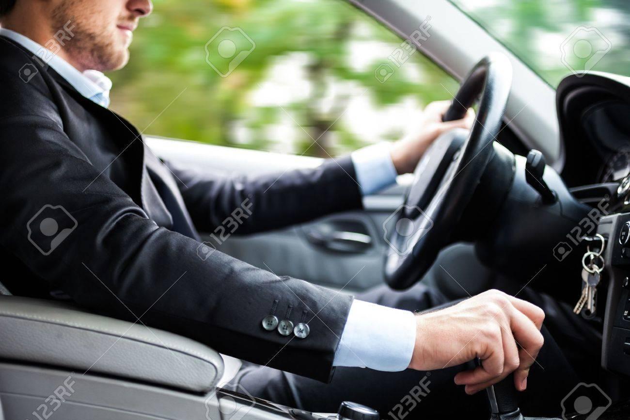 Man driving his car Stock Photo - 16129541
