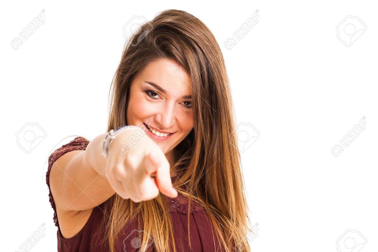 Portrait of a woman pointing her finger to you. Isolated on white Stock Photo - 17184261