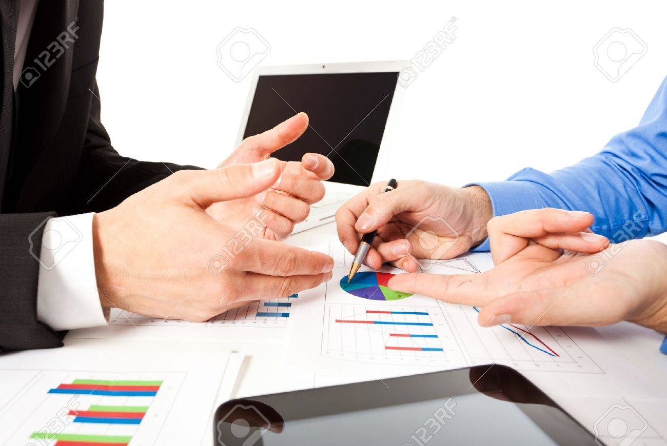 Business people at work during a meeting Stock Photo - 17696414