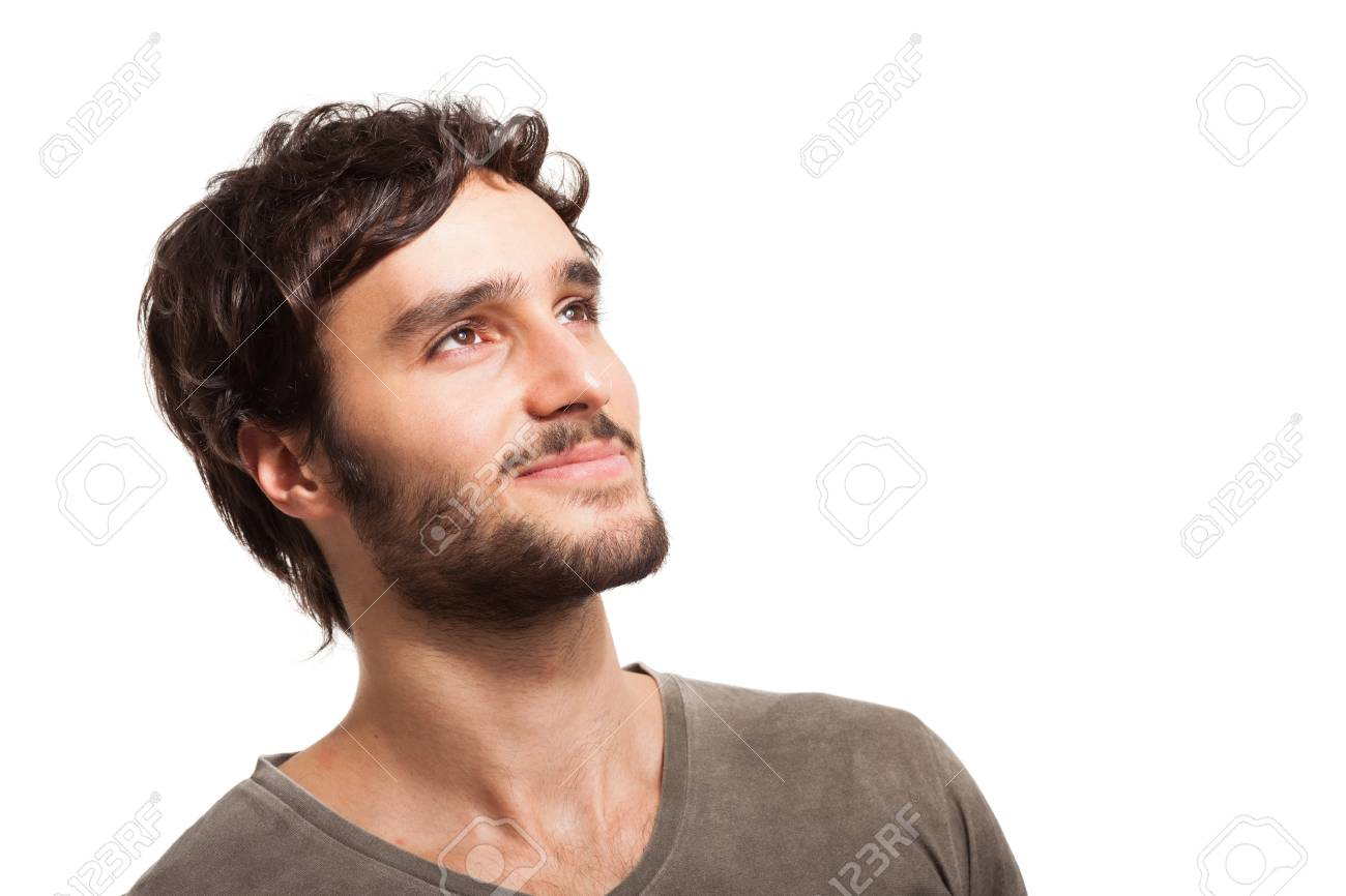 Portrait Of A Smiling Young Man Looking Up Stock Photo Picture And Royalty Free Image Image 19567729 Your emotional screaming man looking up stock images are ready. portrait of a smiling young man looking up