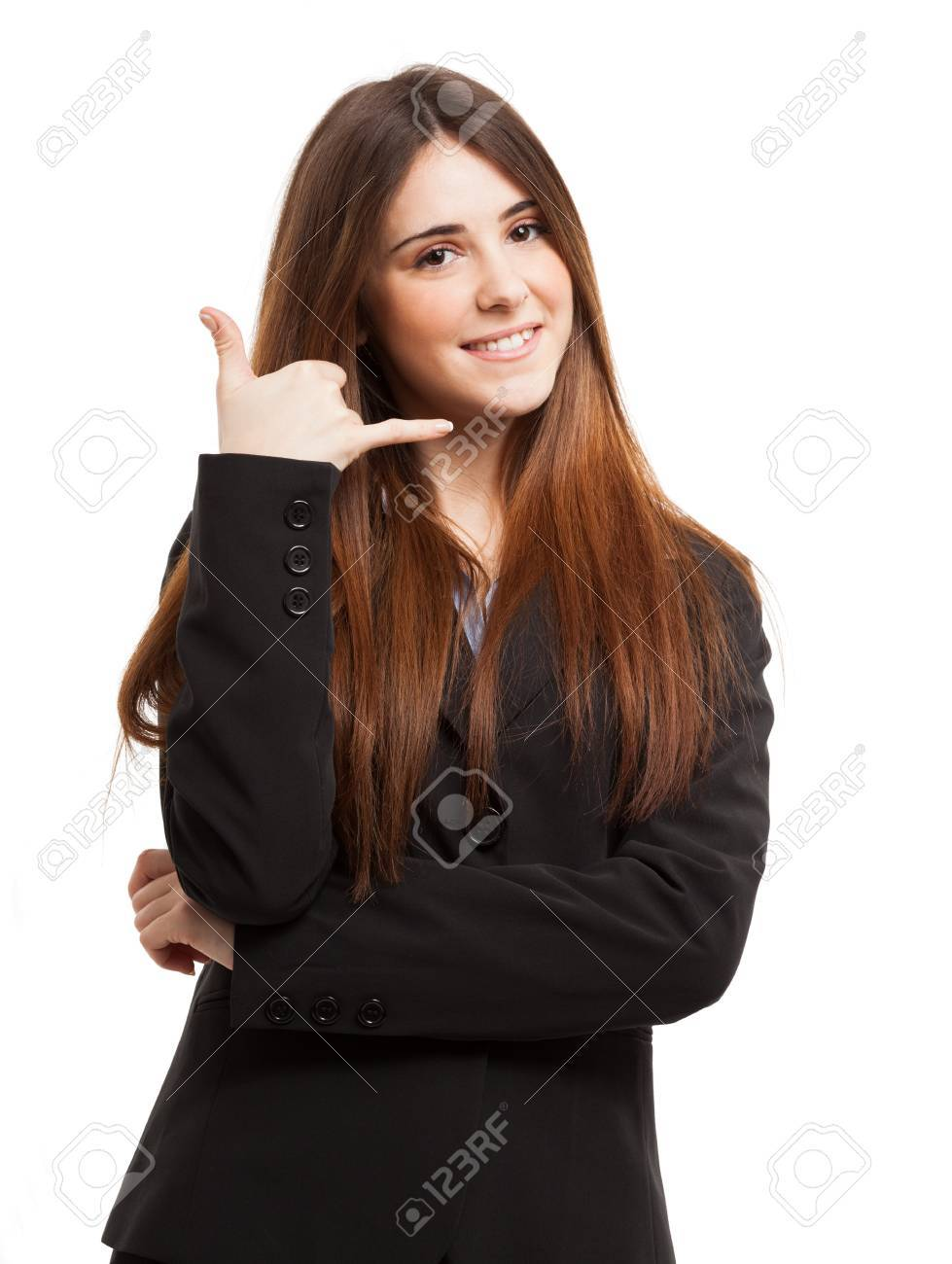 Friendly woman miming a phone call using the hand. Isolated on white Stock Photo - 19567793