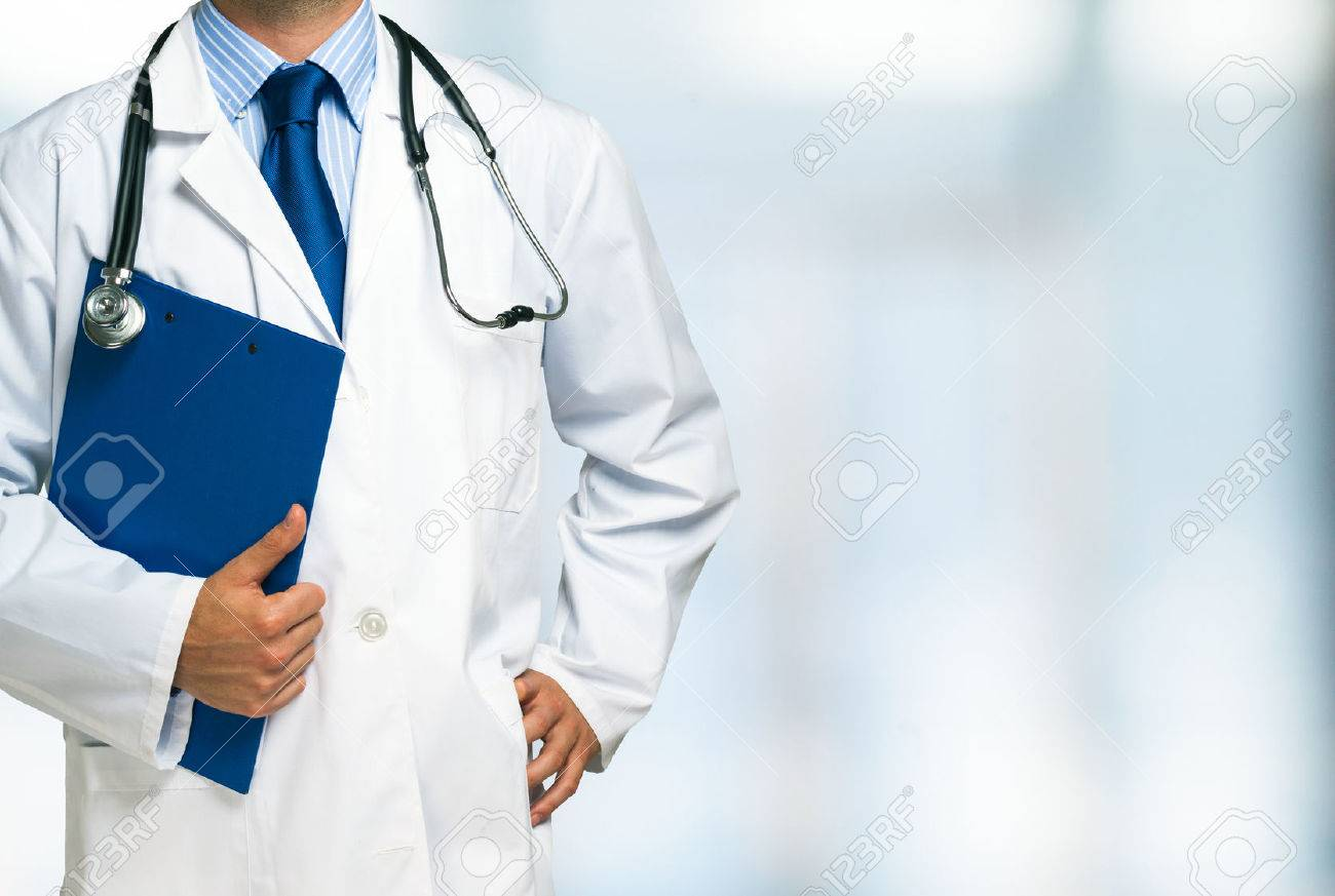 Detail of a doctor holding a clipboard Stock Photo - 41808178