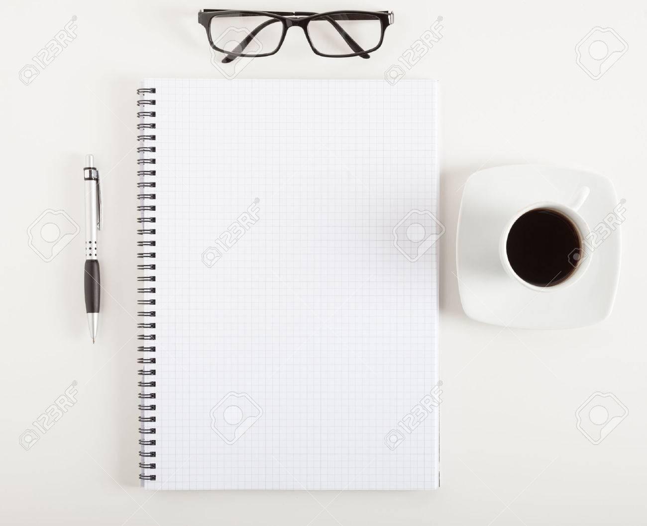 Empty notebook on a desk - 55326926