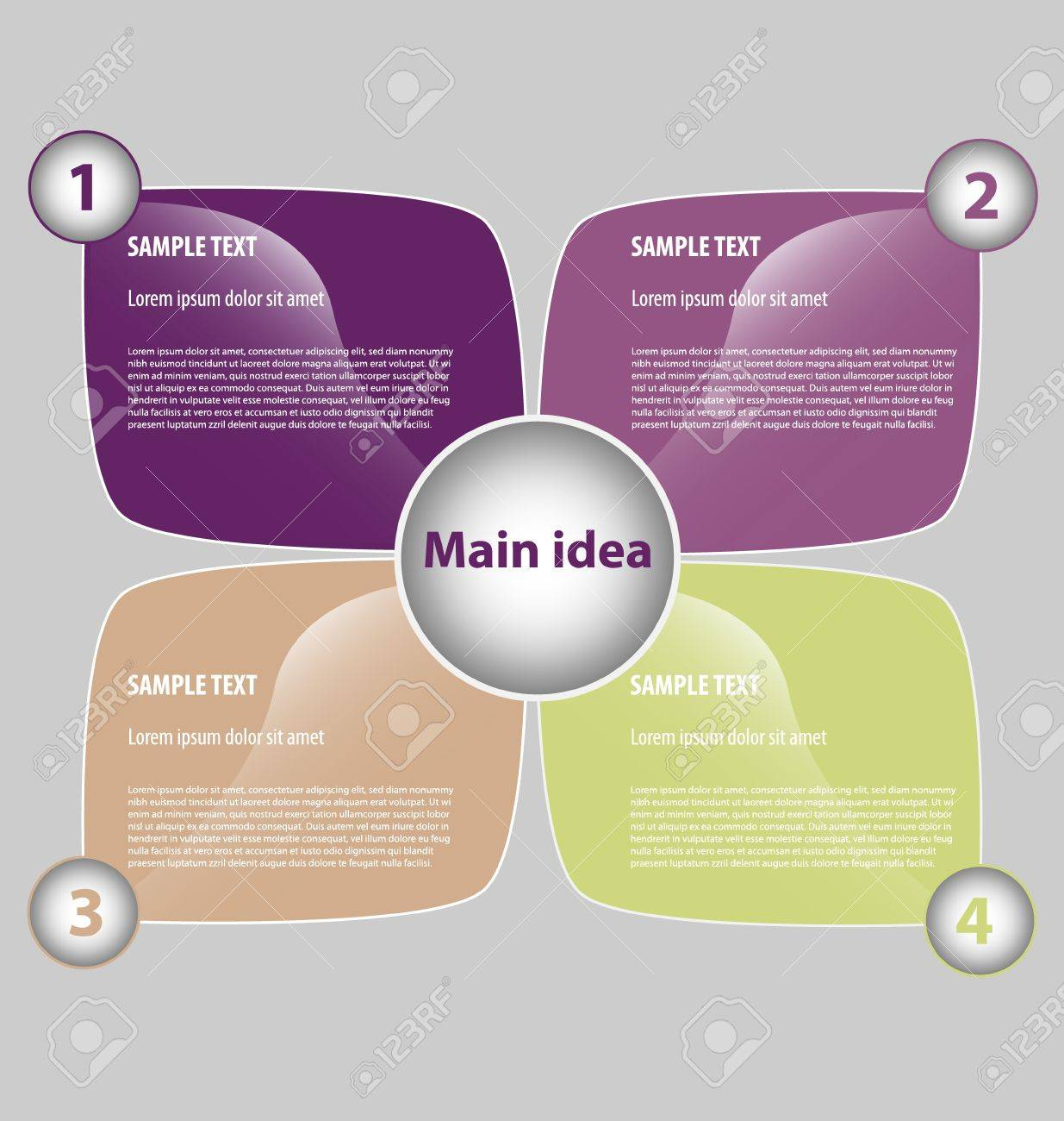 Creative Design Of Presentation Template With Four Text Boxes ...