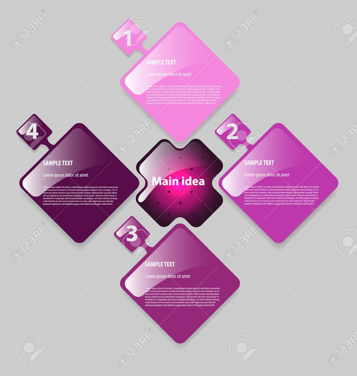 Elegant presentation/option template with four empty text boxes Stock Vector - 16466416