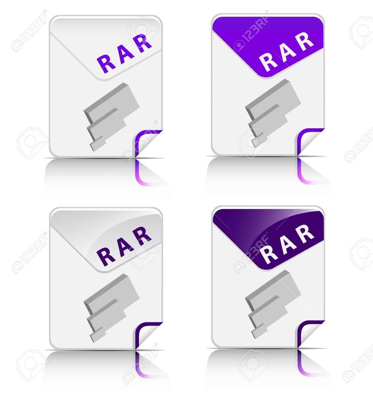 Creative and modern design RAR file type icon Stock Vector - 18311061