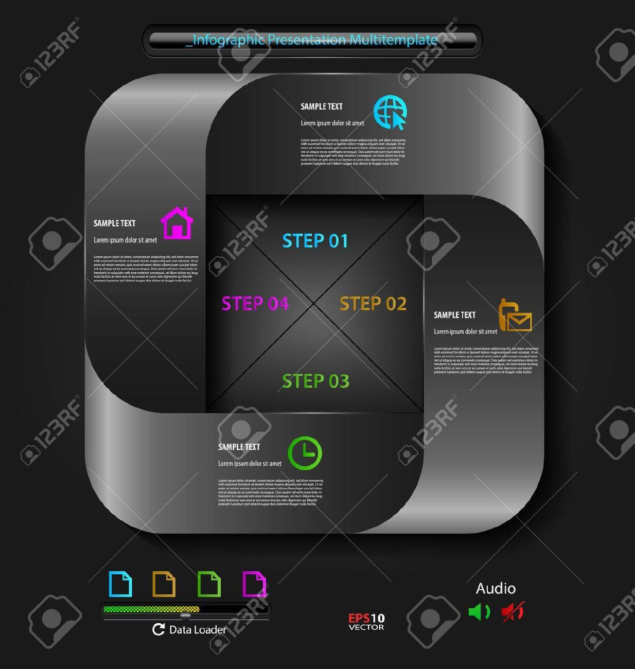 Stylized presentation,option template with empty text boxes and embellishment Stock Vector - 19606552