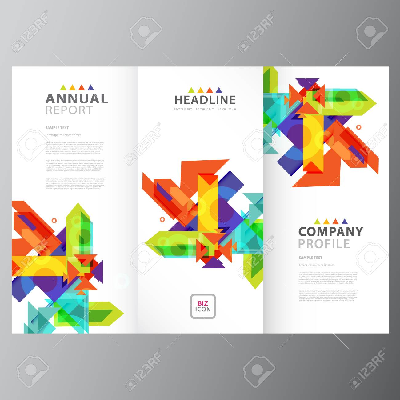 Annual Business Report Brochure Triple Layout Template Royalty Free