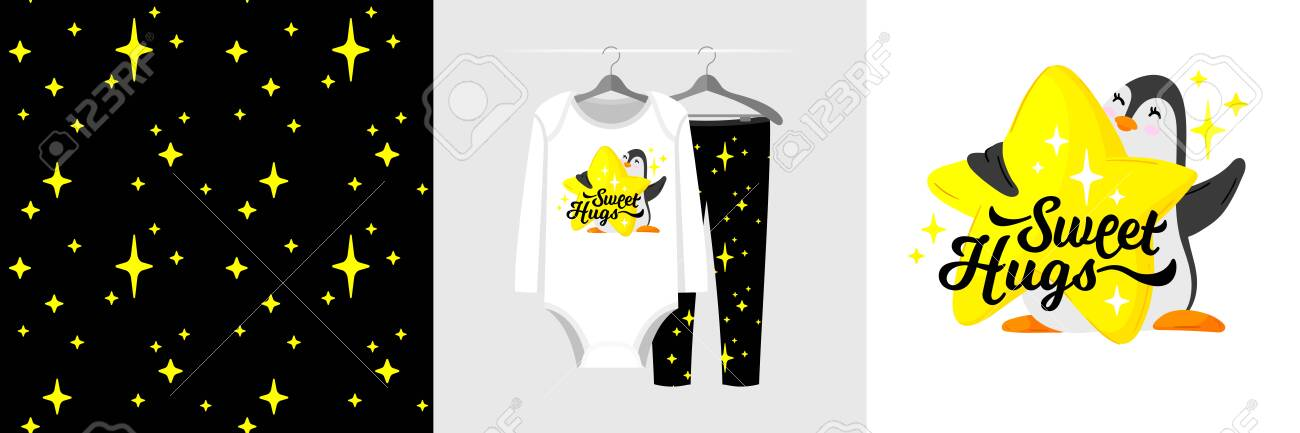 Seamless pattern and illustration for kid with penguin and star, text Sweet Hugs - 134119722