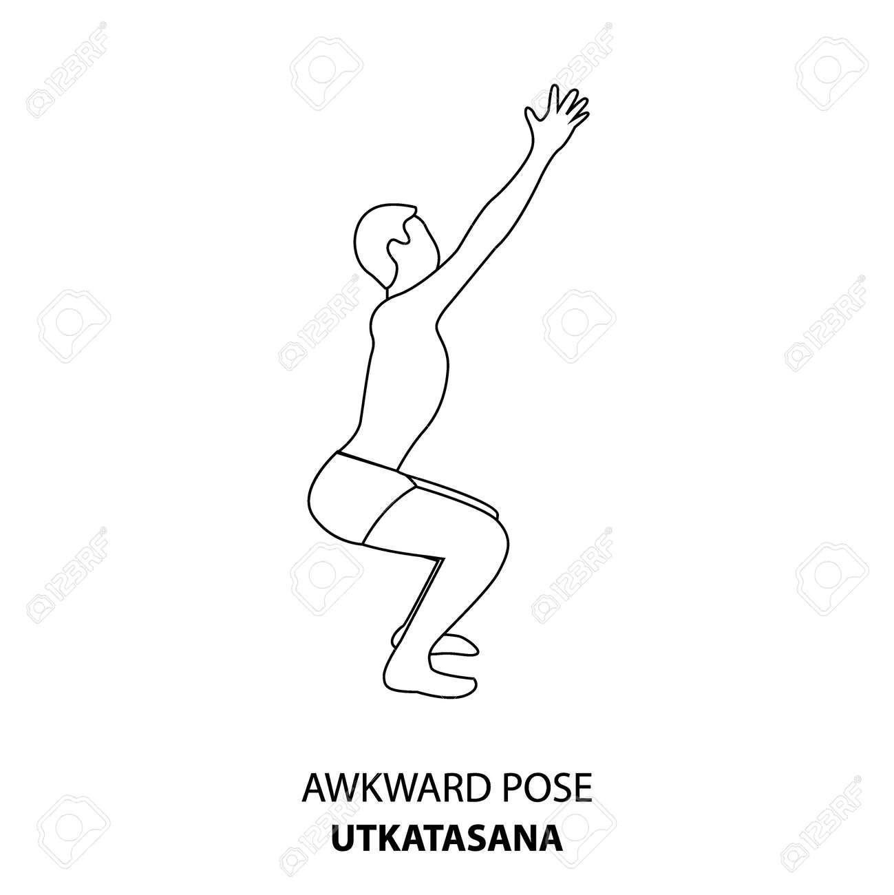 Man practicing yoga pose isolated outline Illustration. Man standing in Awkward Pose or Utkatasana pose, Yoga Asana line icon - 167192007