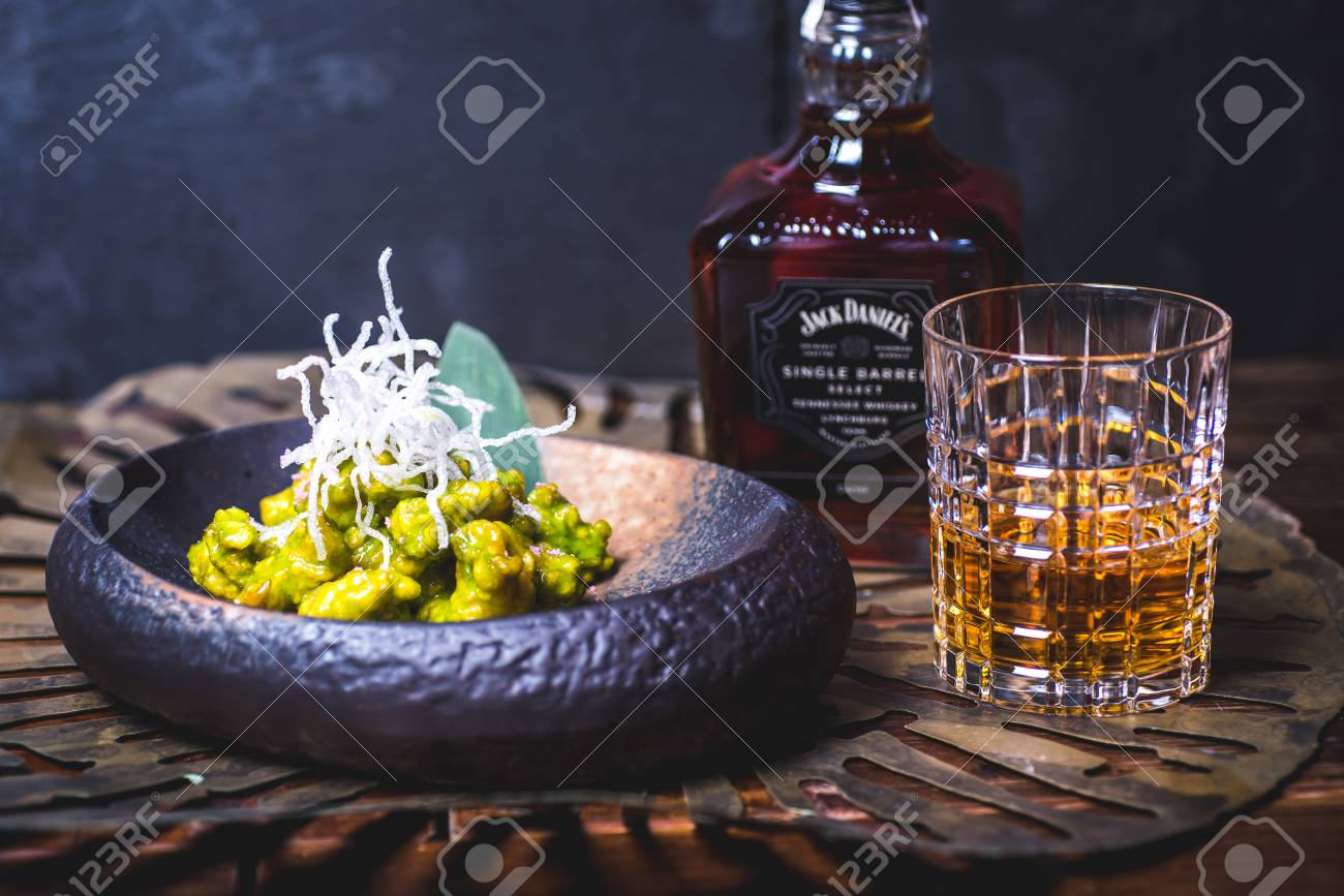 View of a bottle of whiskey. - 99534752