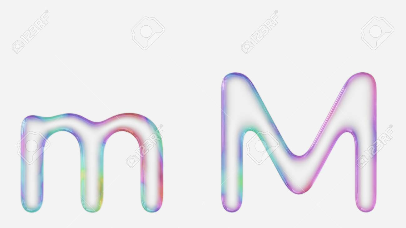 Colorful Bubble Letter M In Lower And Upper Case On A White