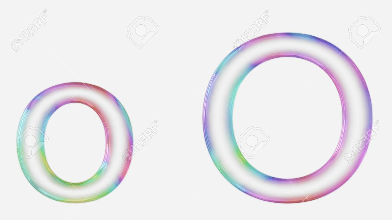 colorful bubble letter o in lower and upper case on a white
