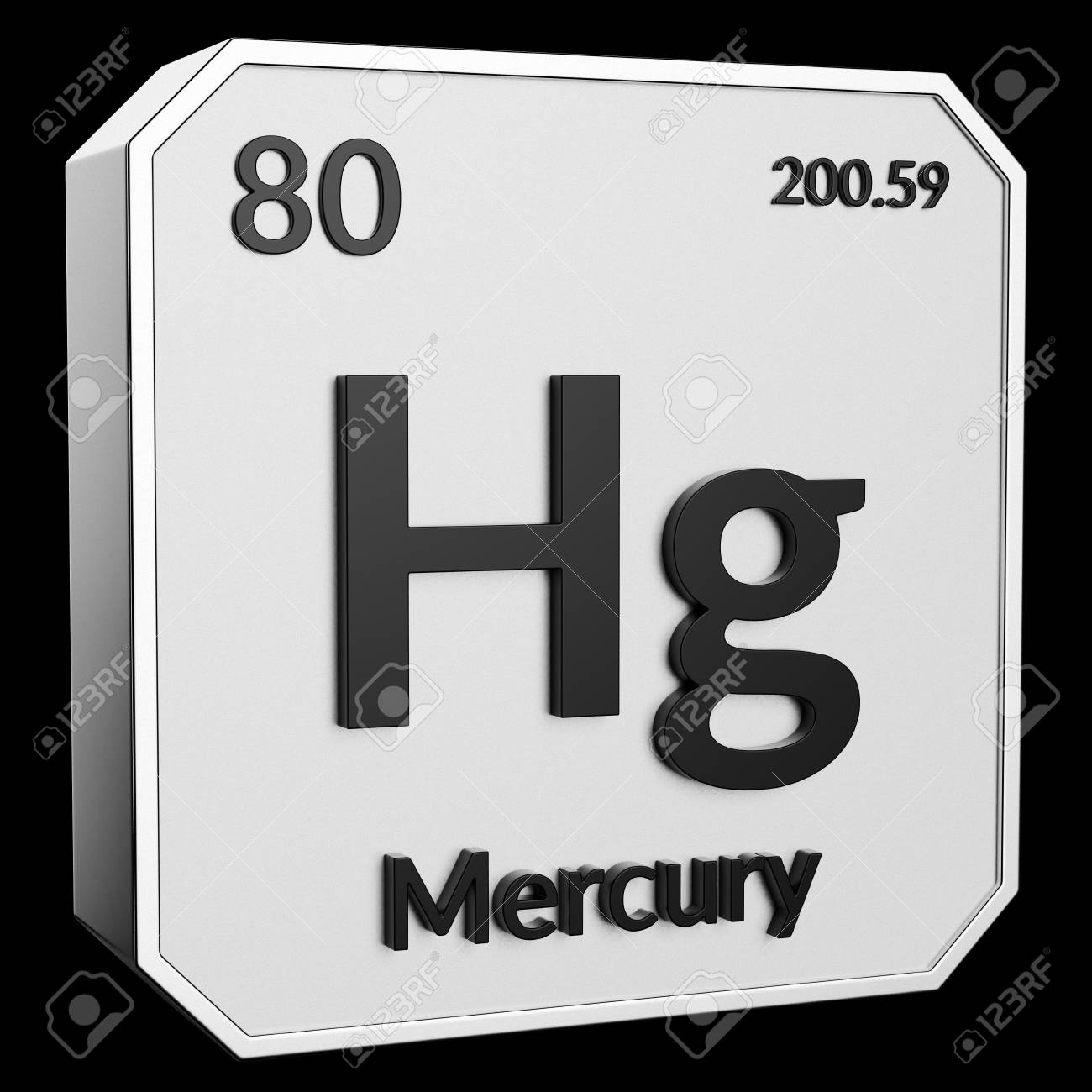 3d Text Of Chemical Element Mercury Its Atomic Weight Periodic