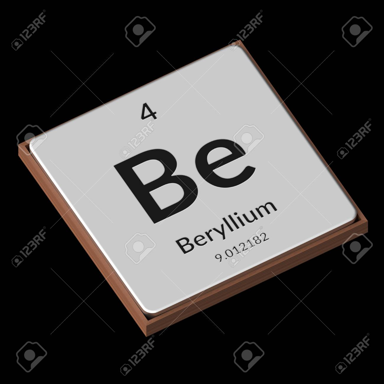 Embossed isolated metal plate displaying the chemical element embossed isolated metal plate displaying the chemical element beryllium its atomic weight periodic number buycottarizona Image collections