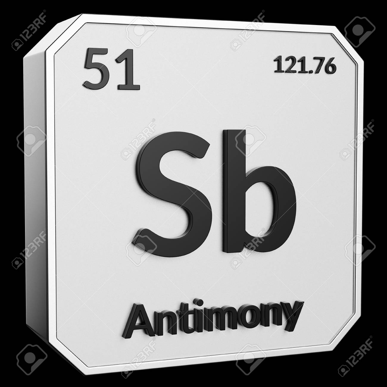 3d Text Of Chemical Element Antimony Its Atomic Weight Periodic