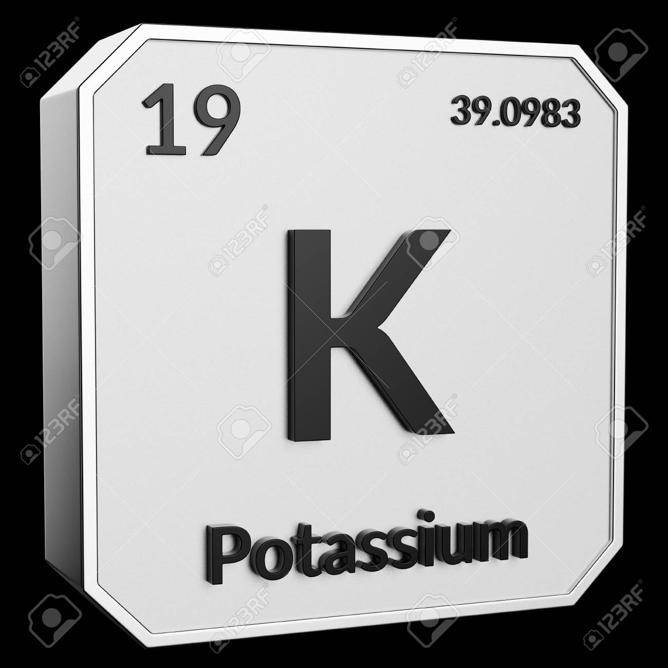 3d Text Of Chemical Element Potassium Its Atomic Weight Periodic