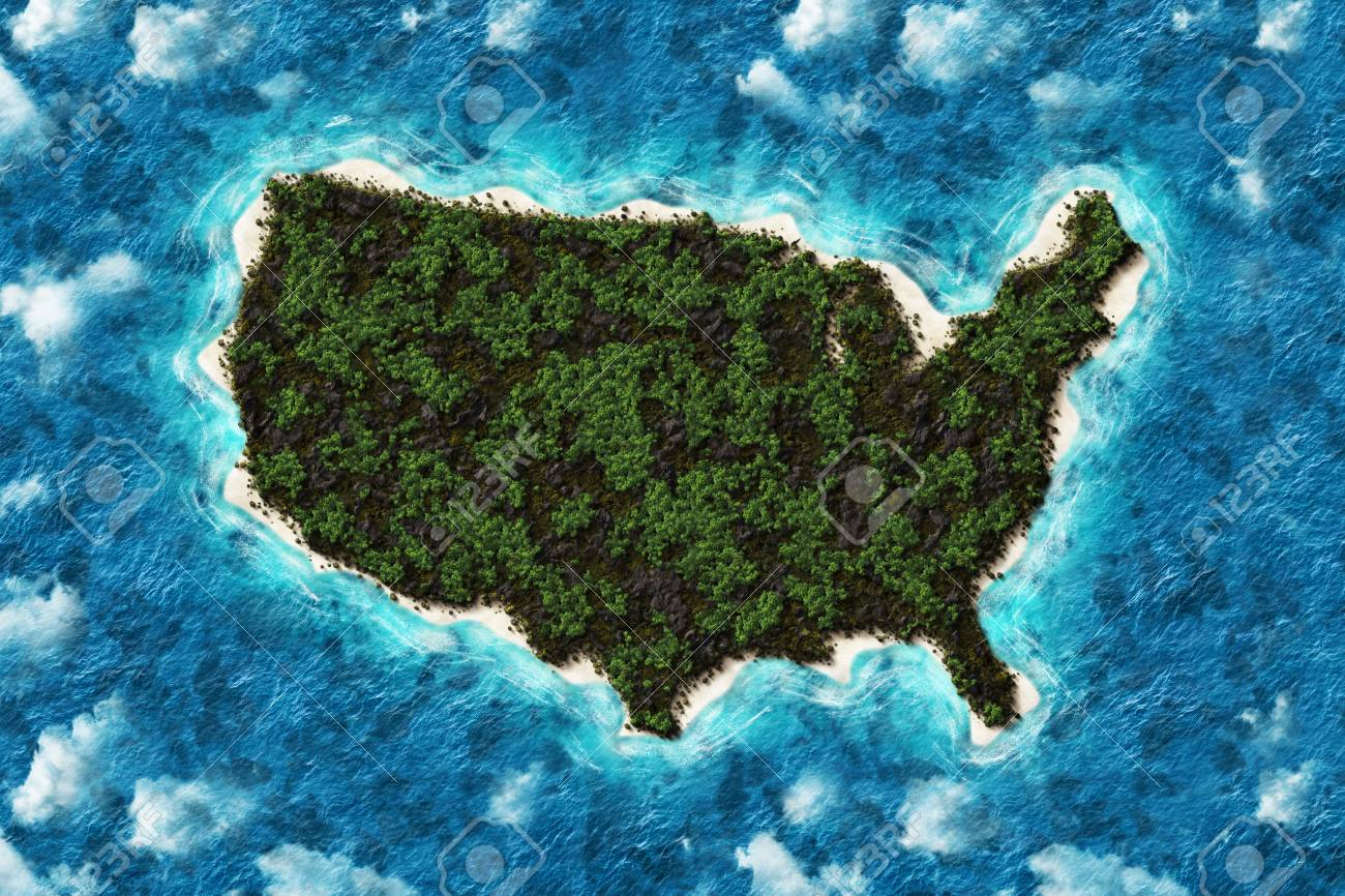 Mountains and Forest Map of United States America