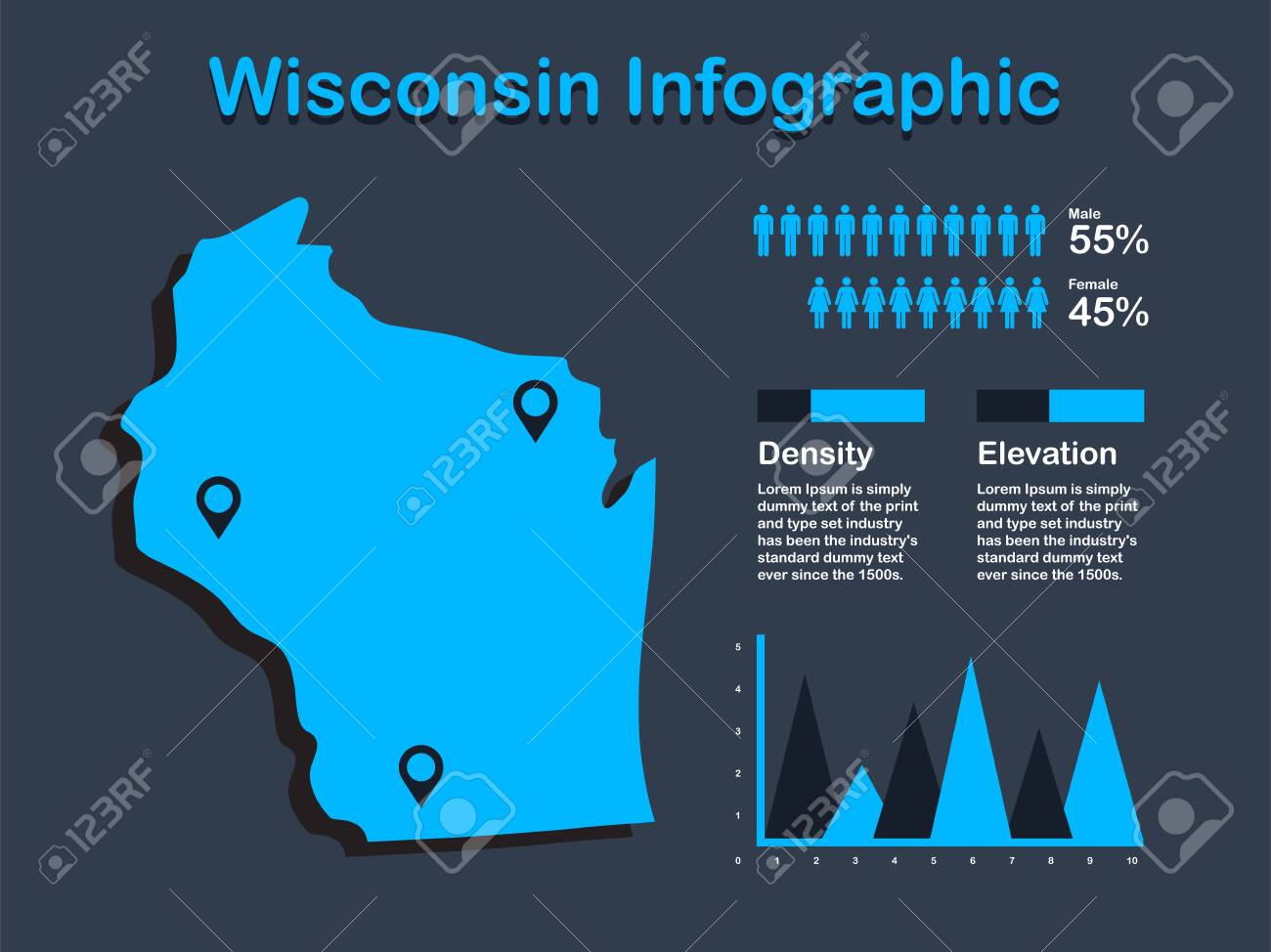 Wisconsin State (USA) Map with Set of Infographic Elements in..