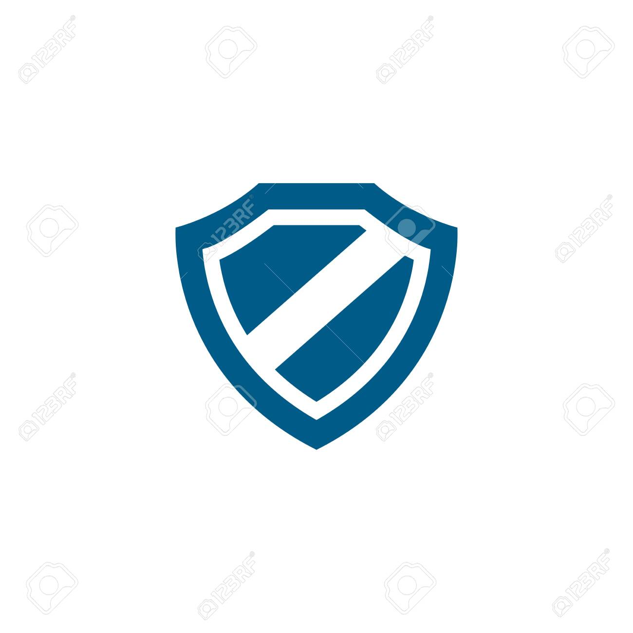 Shield Blue Icon On White Background. Blue Flat Style Vector Illustration. - 154315812