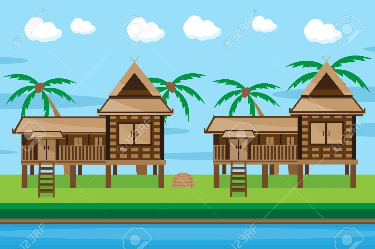 House design cartoon - Thai House Design Stock Vector 43611915
