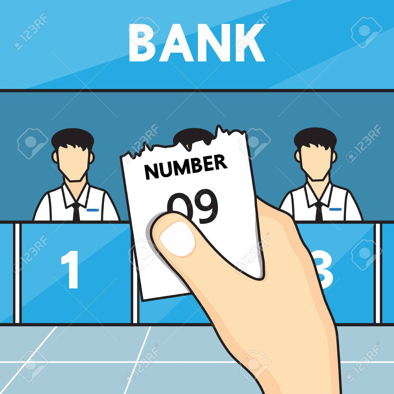 Hand holding ticket queue in the bank. - 63251573