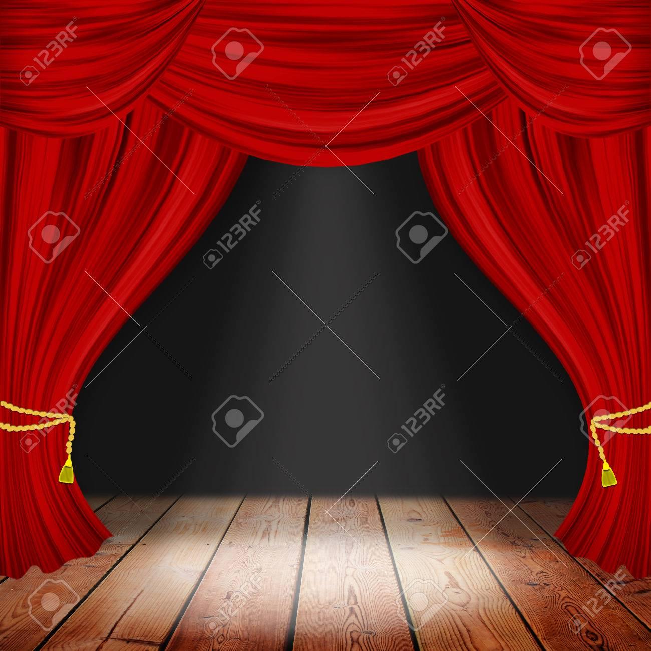 teatro escenario con cortinas rojas y focos escena teatral a la luz de los reflectores