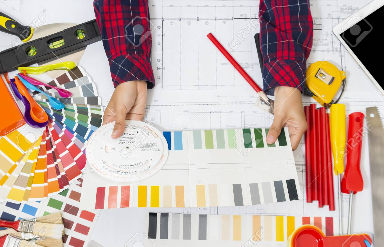 Professional Decorator Work Tools Painting Rollers And Color