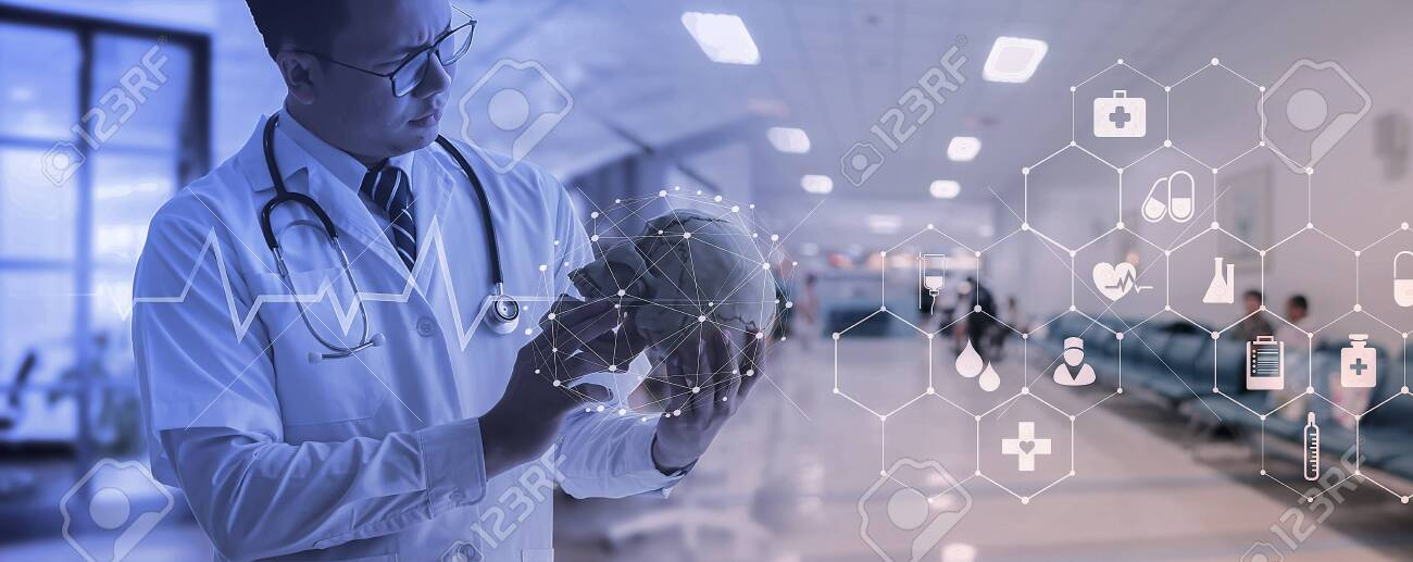 Doctor checking brain testing result with computer interface, innovative technology in science and medicine concept - 129638710