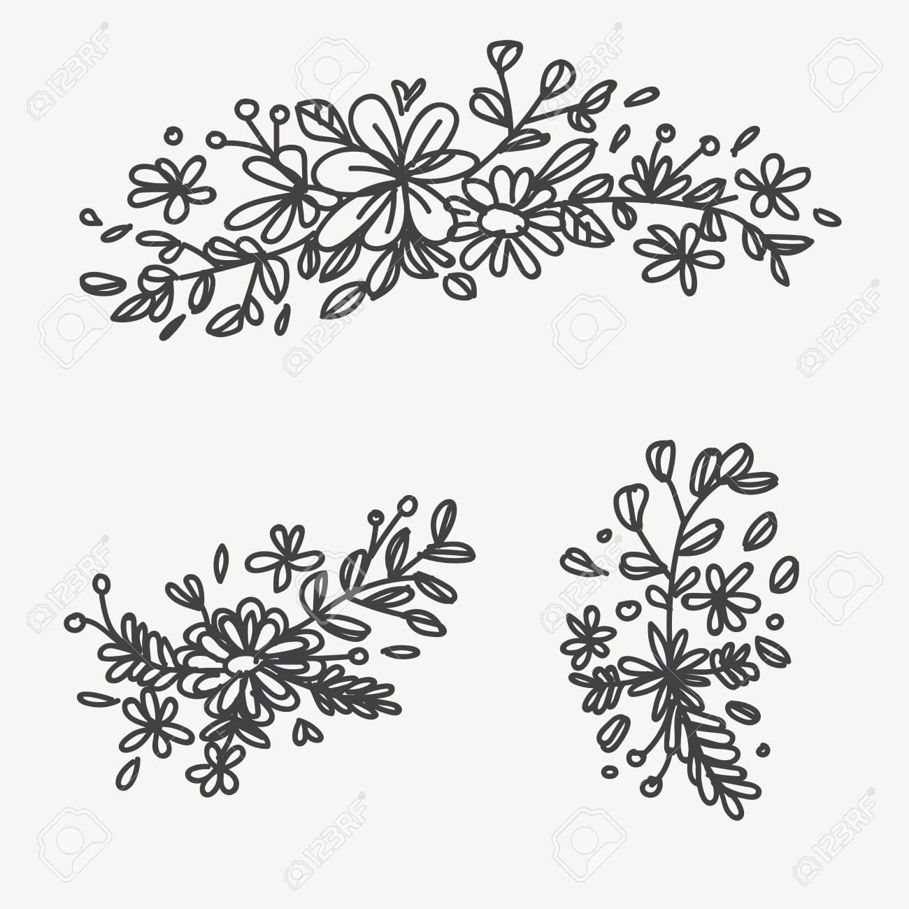 Vintage Elegante Con Flores De Verano Ilustracion En Blanco Y