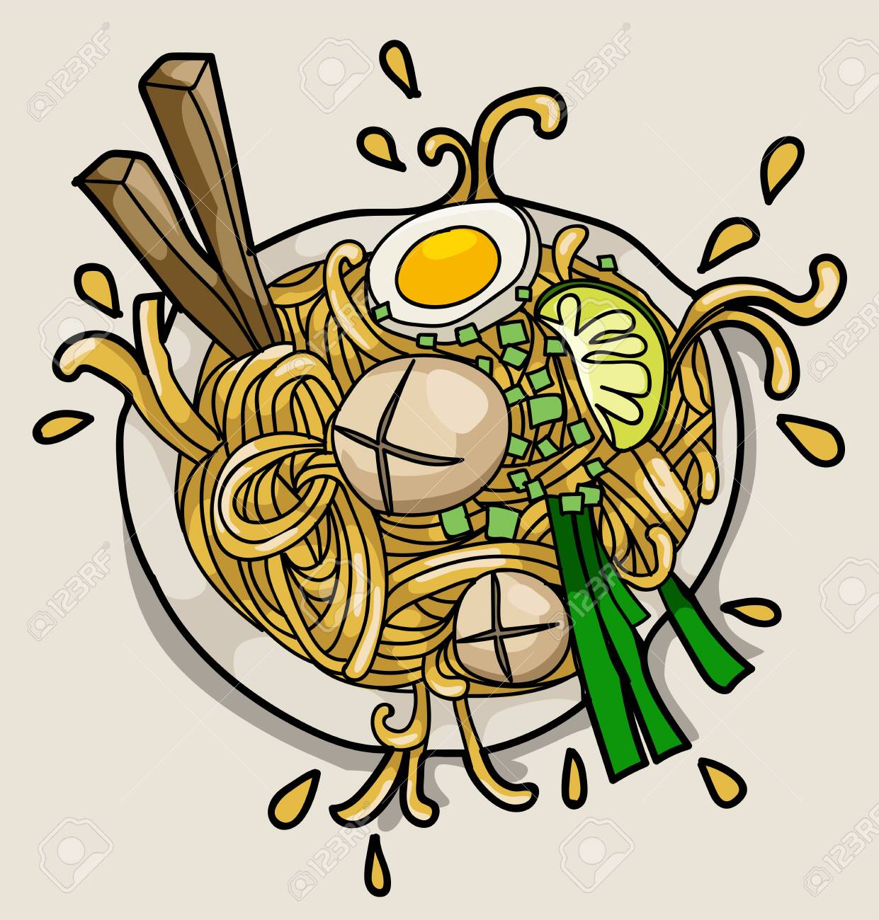 Asian Noodle Ramen Restaurant Poster Concept Vector Illustration Royalty Free Cliparts Vectors And Stock Illustration Image 124044682
