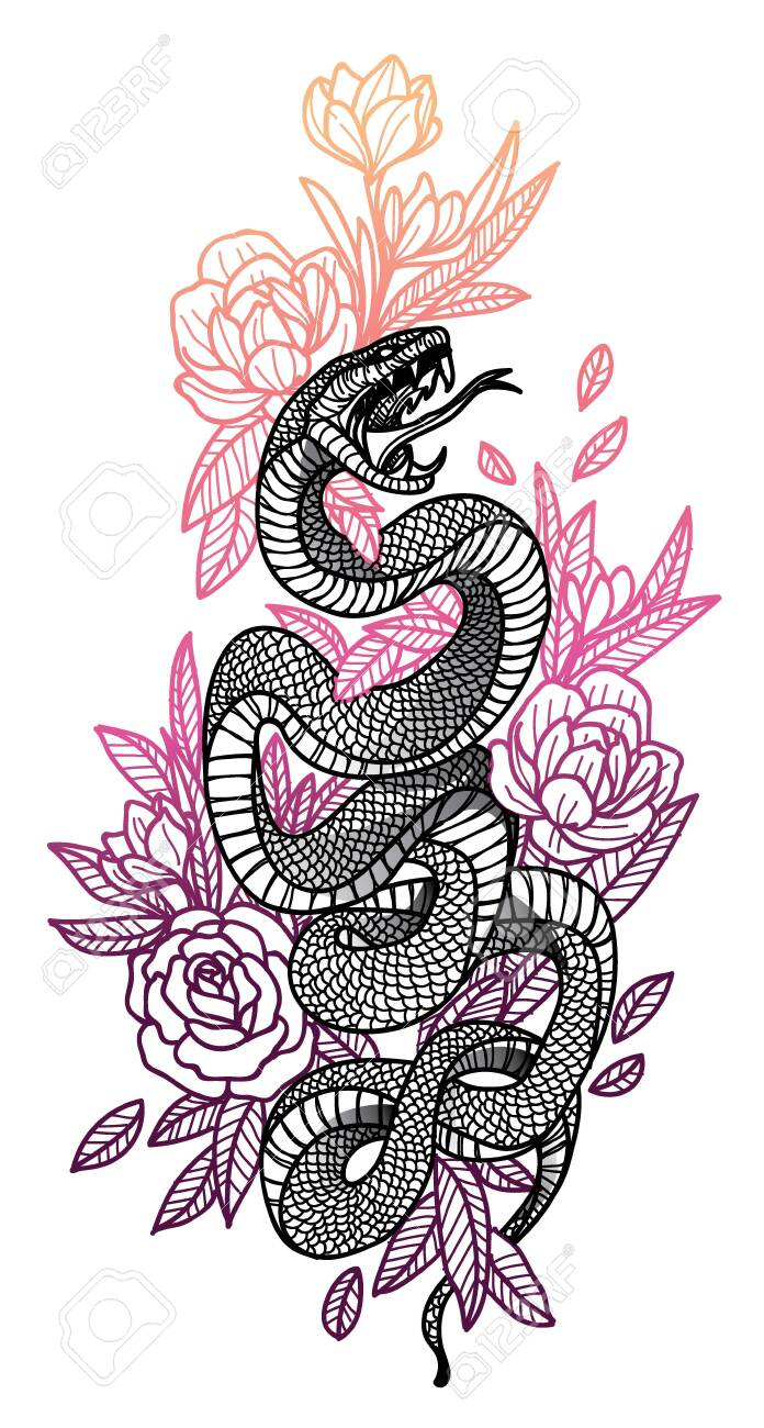 Tattoo Art Snake Hand Drawing And Sketch Black And White With