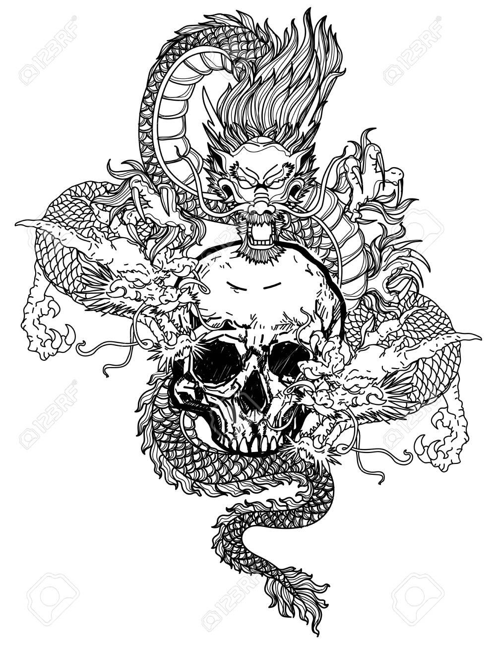 Tattoo art dargon hand drawing black and white - 137748632
