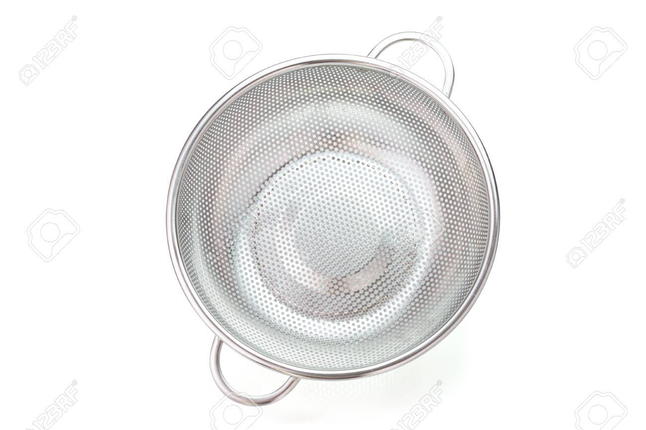 Stainless steel colander isolated on white - 149244617