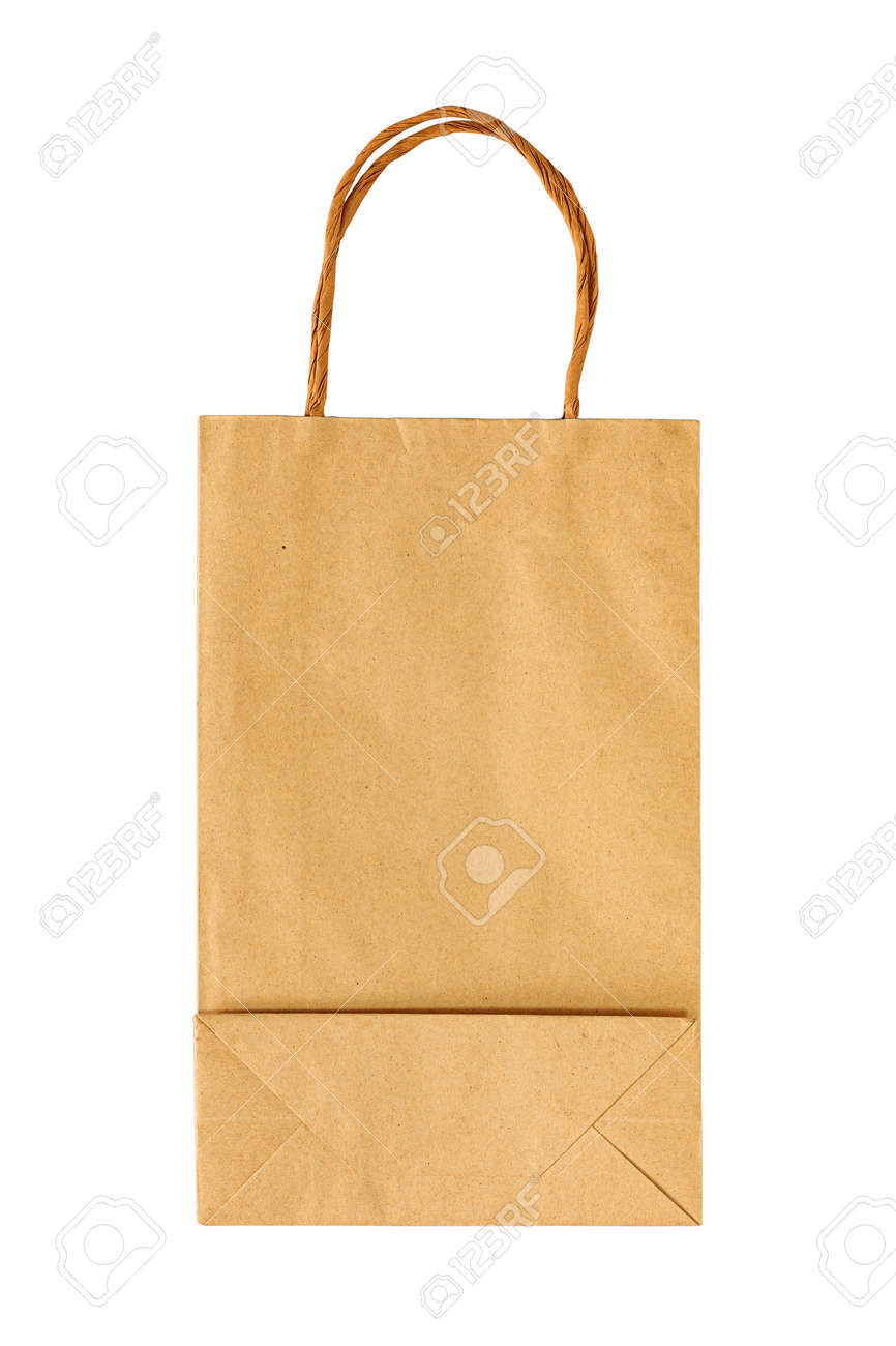 Paper bag for takeaway with isolated on a white background. Packaging template mock up for design. Delivery service concept. - 163135778