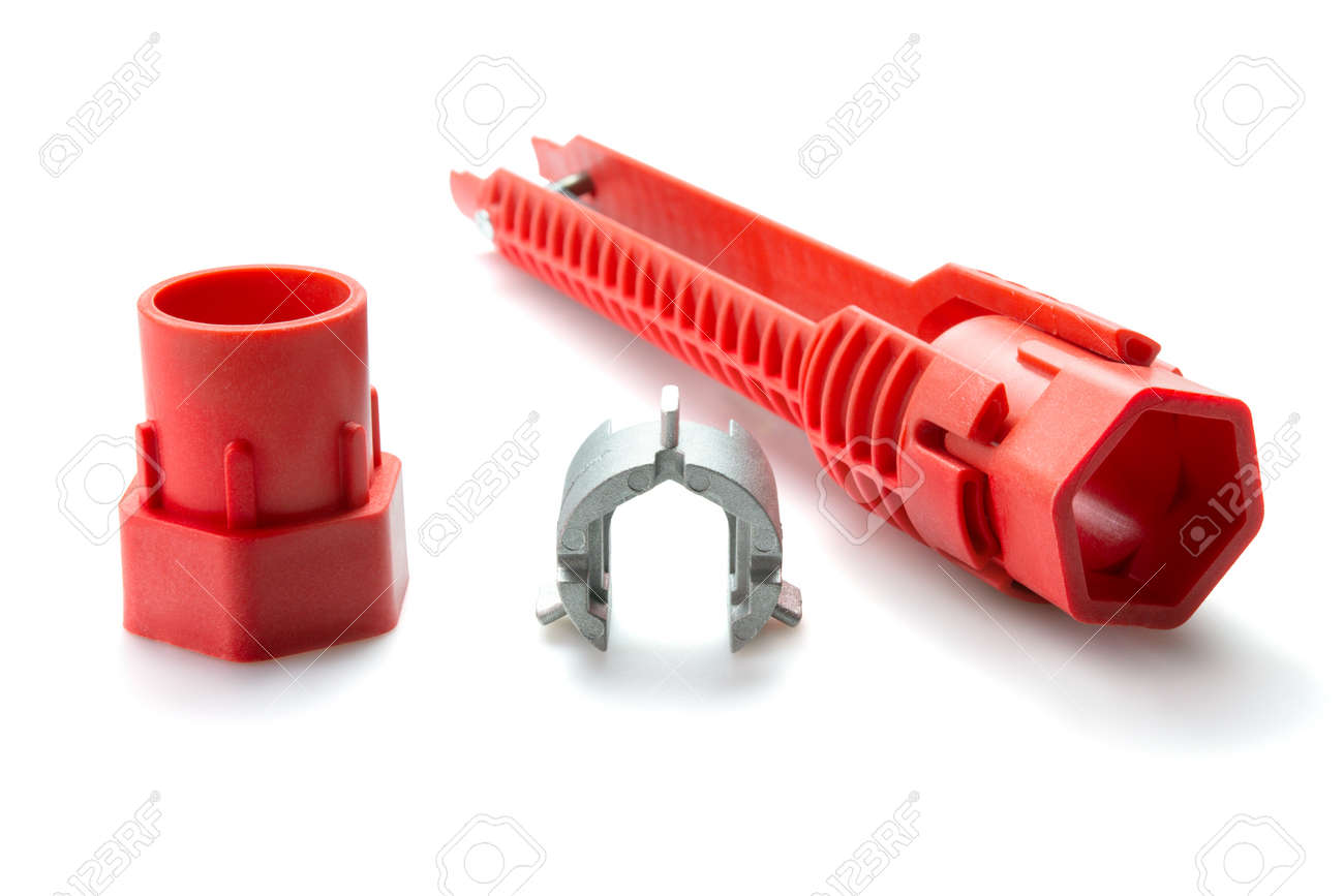 Pipe wrench, Tool for repair sink strainers over white background. Selective focus. - 166001295