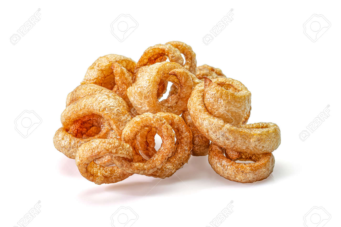 Pork snack or Pork rind leather lean pork fried crispy and blistered isolated on white background. Thai food, Close-up - 166001304