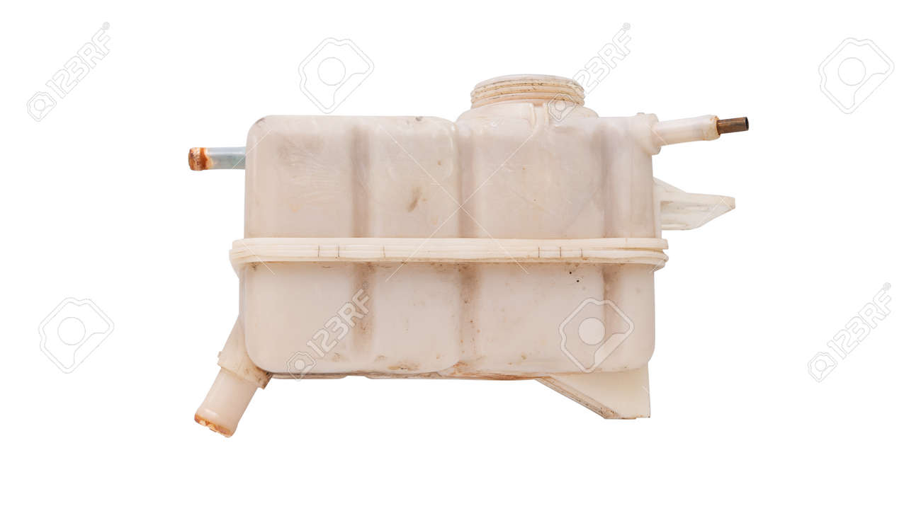 Engine cooling, Car coolant reservoir spare tank isolated white background . - 166001341